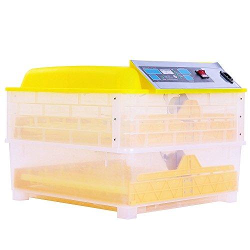 BuoQua Brutapparat für Hühner 96 Eier Vollautomatisch Brutmaschine mit Zeitsachaltuhr Automatische Inkubator Geflügel Thermometer Brutmaschine(160W) - 2