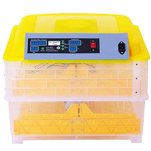 BuoQua Brutapparat für Hühner 96 Eier Vollautomatisch Brutmaschine mit Zeitsachaltuhr Automatische Inkubator Geflügel Thermometer Brutmaschine(160W) - 5